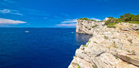 Kornati archipelago national park. Spectacular cliffs of Telascica bay above blue Adriatic sea