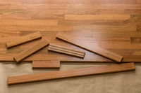 Installation of brazilian cherry hardwood flooring in room