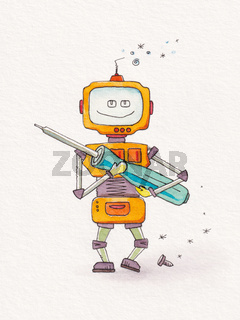 tin bot robot with a screwdriver