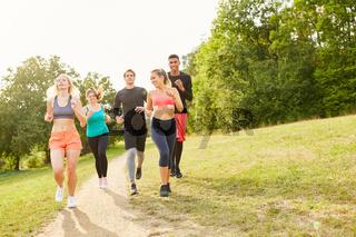 Gruppe Freunde beim Jogging im Sommer