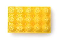 Top view of yellow plastic eggs box