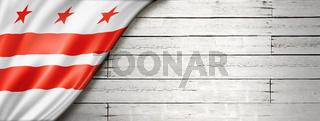 Washington, District of Columbia flag on white wood wall banner, USA