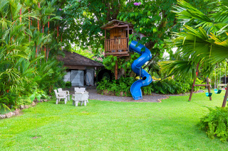 Panama David, wooden house on a tropical tree, with a slide in the garden