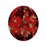 Kaffir Lily; or Clivia Miniata Flower Set Inside Oval WPA Art Style