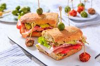 Homemade Ciabatta sandwich with guacamole