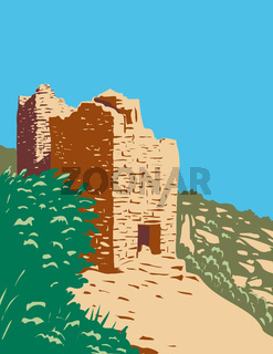 Twin Towers Part of the Square Tower Group in Hovenweep National Monument Located on Land in Colorado and Utah WPA Poster Art