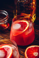 Whiskey sour cocktail with blood orange juice