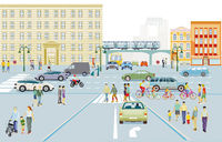 City silhouette with road traffic and people on the sidewalk, illustration