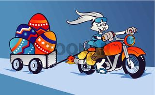 Crazy Easter Bunny cartoon in motorbike