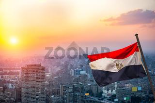 Cairo and egyptian flag