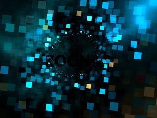 Chaos glowing cubes - abstract blurred 3d illustration