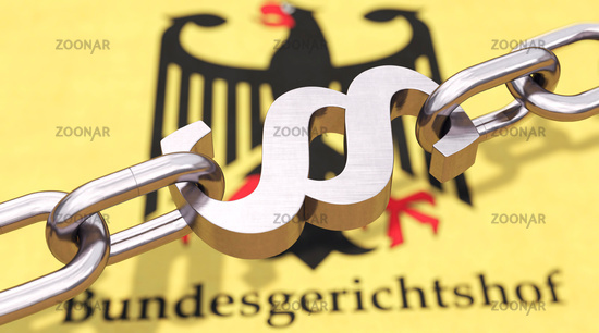 Chain with paragraph symbol above the German federal eagle with the German word