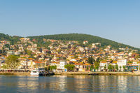 Heybeliada island with summer houses from the sea of Marmara, near Istanbul, Turkey