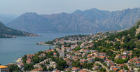 Kotor bay and harbor seen from above at summer, Montenegro