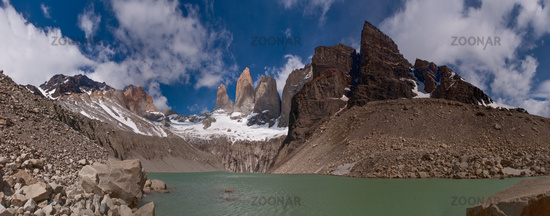 Torres del paine in Chilean National Park with lak