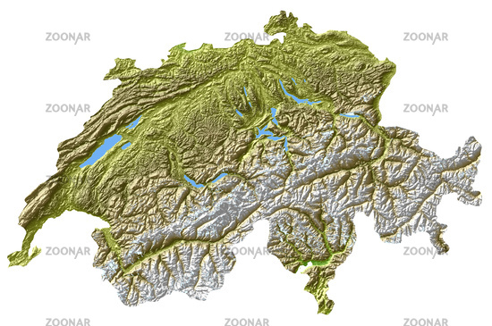 Switzerland - topological relief map