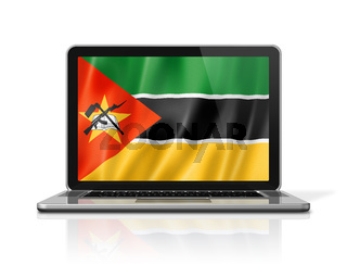 Mozambique flag on laptop screen isolated on white. 3D illustration