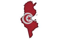 Karte und Fahne von Tunesien auf Filz - Map and flag of Tunisia on felt