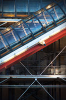 Detail of the Pompidou Centre, Paris, at twilight