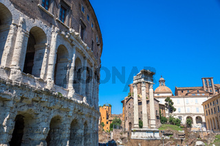 Ancient exterior of Teatro Macello (Theater of Marcellus) located very close to Colosseum, Rome, Italy.