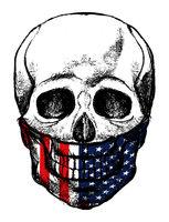 United States Flag Skull illustration on a white bacground