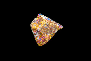 Chalcopyrite isolated on black background
