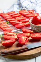 Process of cooking dried tomatoes.