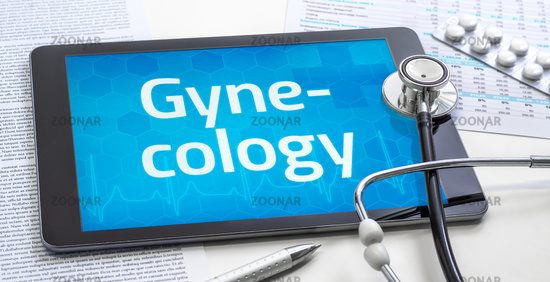 The word Gynecology on the display of a tablet