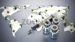 Covid 19 vaccine bottles and syringe standing on world map. 3D illustration