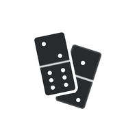 Couple of realistic black dominoes pieces on white
