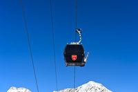 Spielbodenbahn gondola in front of the Wiesmies summit, Saas-Fee, Valais, Switzerland