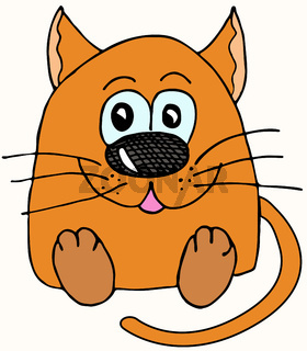 Sad and upset cat character drawn with marker. Cartoon character, imitation of a child s drawing.