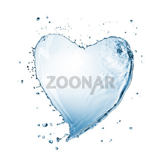 Heart of water splash isolated on white