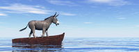 Donkey standing on a wooden boat - 3D render