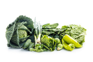 Different types of green vegetables.