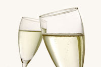 two glasses of champagne isolated