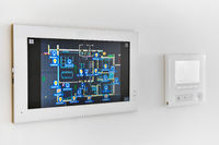 Concept of automation system smart modern luxury wealthy home mounted on white wall close up