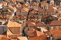 View from the wall on the tiled roofs of the old city of Dubrovnik.
