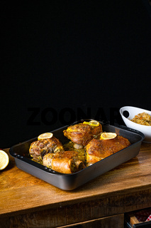 Crispy roasted pork knuckles from the oven