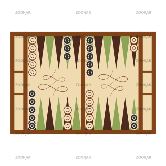 Classic backgammon game field in start position on white