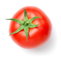 Tomato With Stem Isolated On White Background