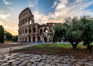 Colosseum in Rome (Roma), Italy. The most famous Italian sightseeing on blue sky