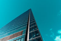 Low angle view of Espacio Tower in Cuatro Torres Business Area in Madrid