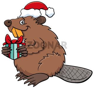 cartoon beaver animal character with gift on Christmas time