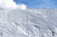 Snowy off-piste slope for freeride with traces from skis, snowboards
