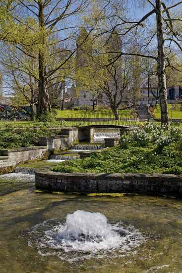 Pader spring area in spring with Abdinghof church in the background, Paderborn, Germany, Europe