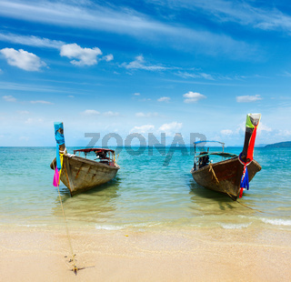 Long tail boat on tropical beach Railay beach)