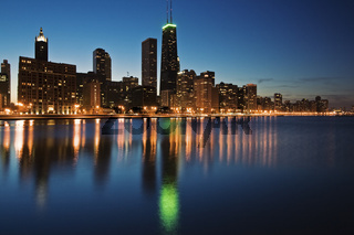 Blue evening in Chicago