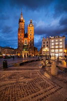 Krakow Old Town Square At Night