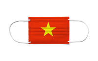 Flag of Vietnam on a disposable surgical mask. White background